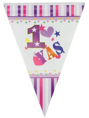 1 Yaş Doğum Günü Partisi Flama Bayrak Pembe - Thumbnail