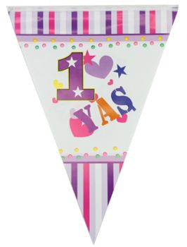 1 Yaş Doğum Günü Partisi Flama Bayrak Pembe