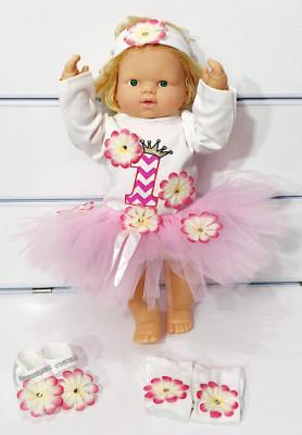 Petite Ponpon Baby - 1 Yaş Konsepti Tütülü Çiçekli Kız Bebek Takımı 5 Parça Pembe