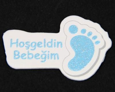 Diğer - 100lü Hoşgeldin Bebeğim Yazılı Süsleme Malzemesi Mavi