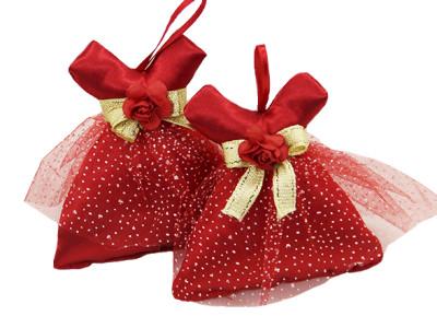 Diğer - 10lu Çiçekli Fiyonk ve Tül Süslemeli Elbiseli Lavanta Kesesi Kırmızı