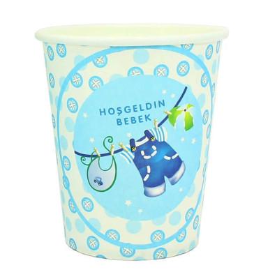 Diğer - 10lu Hoşgeldin Bebek Baby Shower Partisi Karton Bardağı Mavi
