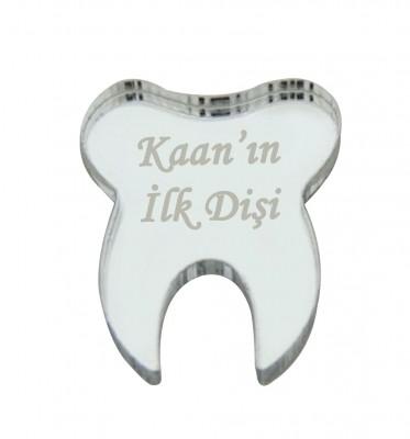 Diğer - 10lu Kişiye Özel Yazılı Aynalı Diş Figürü Gümüş 5cm