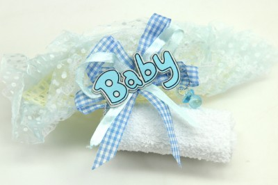 Diğer - 12li Baby Yazılı Hediyelik Bebek Mevlüt Havlusu Mavi