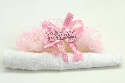 Diğer - 12li Baby Yazılı Hediyelik Bebek Mevlüt Havlusu Pembe