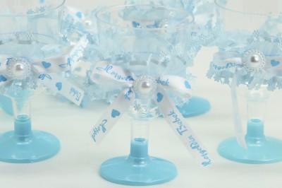 Diğer - 12li Kurdele ve Tül Süslemeli Lohusa Şerbet Bardağı Mavi