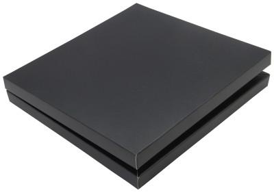 Diğer - 16 Bölmeli Desenli Düz Renk Madlen Karton Çikolata Sunum Kutusu Siyah