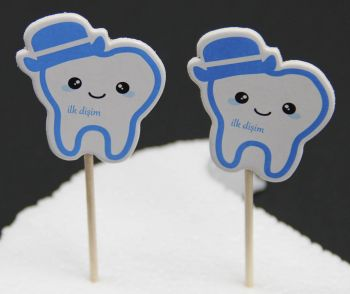 20li Diş Buğdayı Kürdanı Mavi
