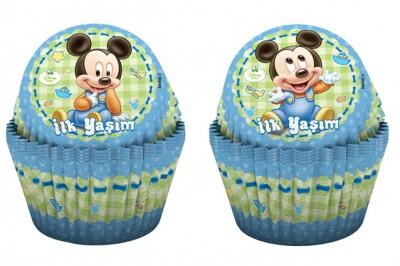 Diğer - 24lü Disney Baby Mickey İlk Yaşım Kağıt Cupcake ve Muffin Kek Kalıbı
