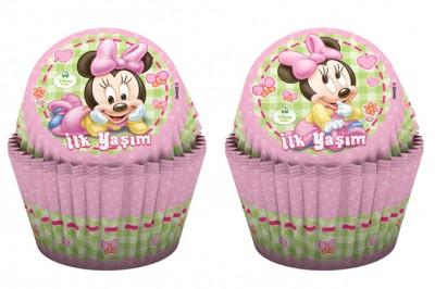 Diğer - 24lü Disney Baby Minnie İlk Yaşım Kağıt Cupcake ve Muffin Kek Kalıbı