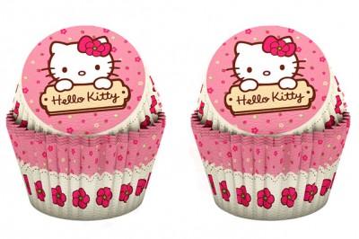 Diğer - 24lü Hello Kitty Baskılı Kağıt Cupcake ve Muffin Kek Kalıbı