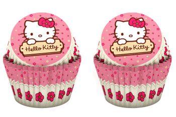 24lü Hello Kitty Baskılı Kağıt Cupcake ve Muffin Kek Kalıbı