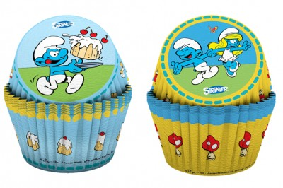 Diğer - 24lü Şirinler Baskılı Kağıt Cupcake ve Muffin Kek Kalıbı