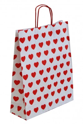25li Tutmalı Kırmızı Kalpli Kraft Çanta 32x41cm - Thumbnail