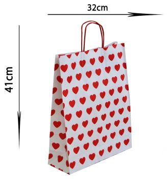 25li Tutmalı Kırmızı Kalpli Kraft Çanta 32x41cm