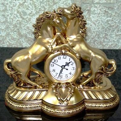 Diğer - 2li At Figürlü Masa Saati Sarı