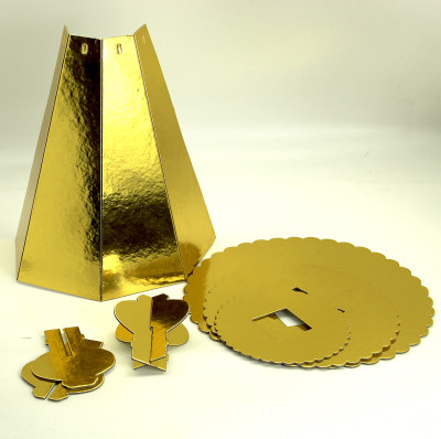 3 Katlı Parlak Karton Cupcake Standı Gold - Thumbnail