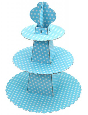 Diğer - 3 Katlı Puantiye Desenli Karton Cupcake Standı Mavi