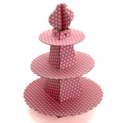 Diğer - 3 Katlı Puantiye Desenli Karton Cupcake Standı Pembe