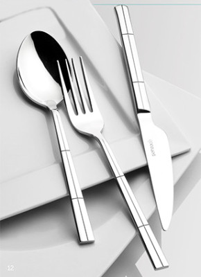 Şehzade - 36 Parça Moda Çizgili Çatal Kaşık ve Bıçak Seti