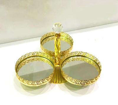 Diğer - 3lü Aynalı Dekoratif Üçgen Çerezlik Gold 25cm