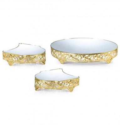 Diğer - 3lü Aynalı Lüx Jardinyer 85cm Gold