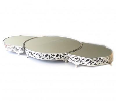 Diğer - 3lü Aynalı Lüx Jardinyer 85cm Gümüş