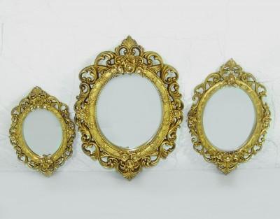 Diğer - 3lü Dekoratif Oymalı Varaklı Yuvarlak Ayna Seti Gold