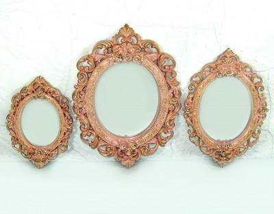 Diğer - 3lü Dekoratif Oymalı Varaklı Yuvarlak Ayna Seti Pembe