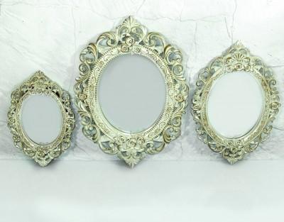 Diğer - 3lü Dekoratif Oymalı Varaklı Yuvarlak Ayna Seti Sedef