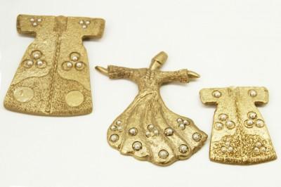 Diğer - 3lü İncili Kaftan ve Semazen Asmalı Duvar Biblo Seti Gold