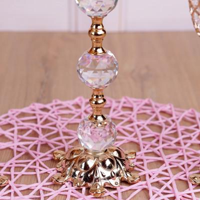 Diğer - 3lü Kristal Taşlı Top Şamdan Set Gold