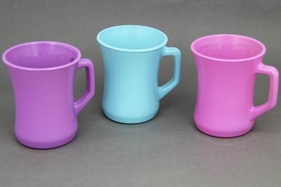 Diğer - 3lü Lav Zen Renkli Cam Kupa Bardak