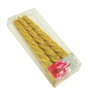 Diğer - 3lü Simli Şamdan Mumu Gold