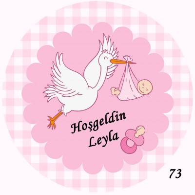 Diğer - 48li Bebek Şekeri Mini Süs Aynası Etiketi Yuvarlak 3cm