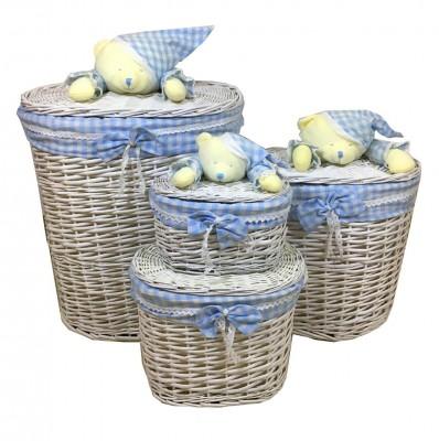 Diğer - 4lü Ayıcık Figürlü Oval Hasır Çamaşır Sepeti Mavi