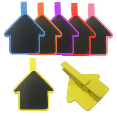 Diğer - 4lü Renkli Ev Şeklinde Tebeşirle Yazılabilir Karatahta Ahşap Mandal