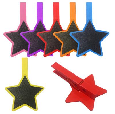 Diğer - 4lü Renkli Yıldız Şeklinde Tebeşirle Yazılabilir Karatahta Ahşap Mandal