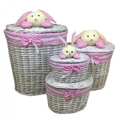 Diğer - 4lü Tavşan Figürlü Oval Hasır Çamaşır Sepeti Pembe
