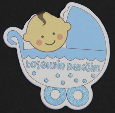 Diğer - 50li Baby Shower Logolu Süsleme Malzemesi Mavi