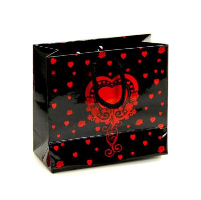 Diğer - 50li Kalp Desenli Tutma İpli Selefonlu Mini Karton Çanta 11x11cm