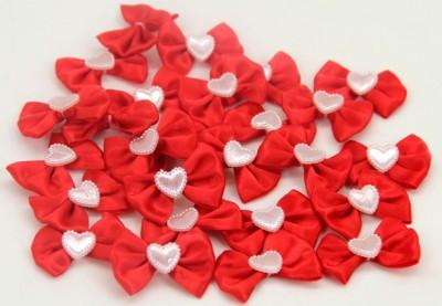 50li Kalpli Saten Fiyonk Kurdele Süsleme Malzemesi Kırmızı - Thumbnail