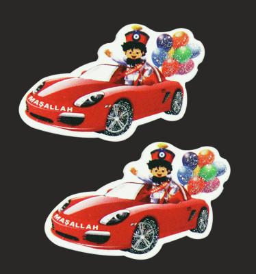 Diğer - 50li Kırmızı Spor Arabada Sünnet Çocuğu Logo Süsleme Malzemesi