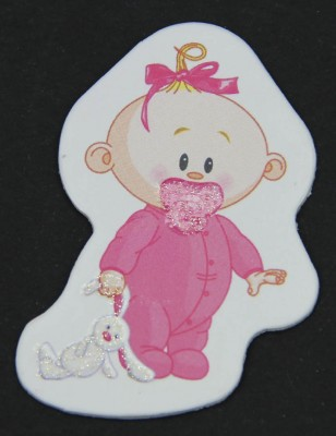 Diğer - 50li Kız Bebek Logolu Pembe Süsleme Malzemesi