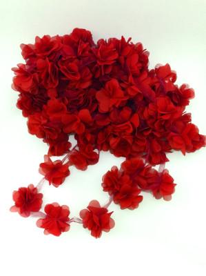 Diğer - 50li Şerit Tül Çiçek Süsleme Malzemesi Kırmızı
