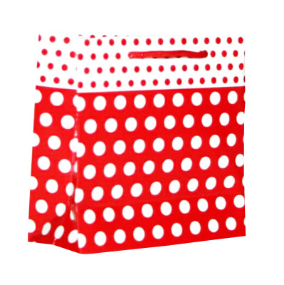 Diğer - 50li Tutma İpli Puantiye Desenli Mini Boy Karton Çanta Kırmızı 11x11x5,5cm