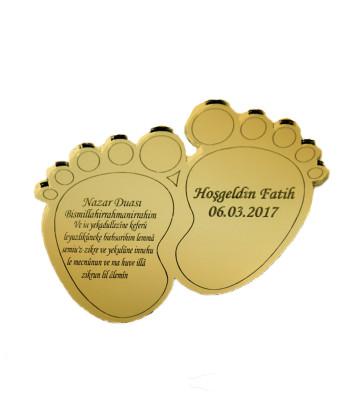 Diğer - 5li Kişiye Özel Yazılı Ayetli Aynalı Bebek Ayağı Süsü 10cm Gold
