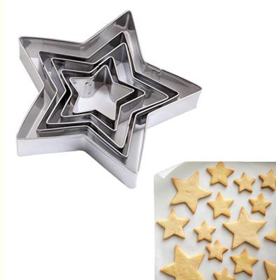 Diğer - 5li Yıldız Şeklinde Metal Bisküvi ve Kurabiye Kalıpları