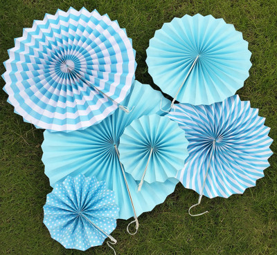 6lı Farklı Boylarda Karışık Model Kağıt Yelpaze Şeklinde Süs Mavi - Thumbnail