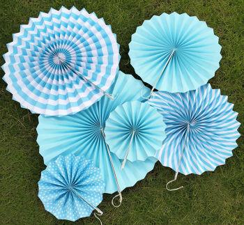 6lı Farklı Boylarda Karışık Model Kağıt Yelpaze Şeklinde Süs Mavi